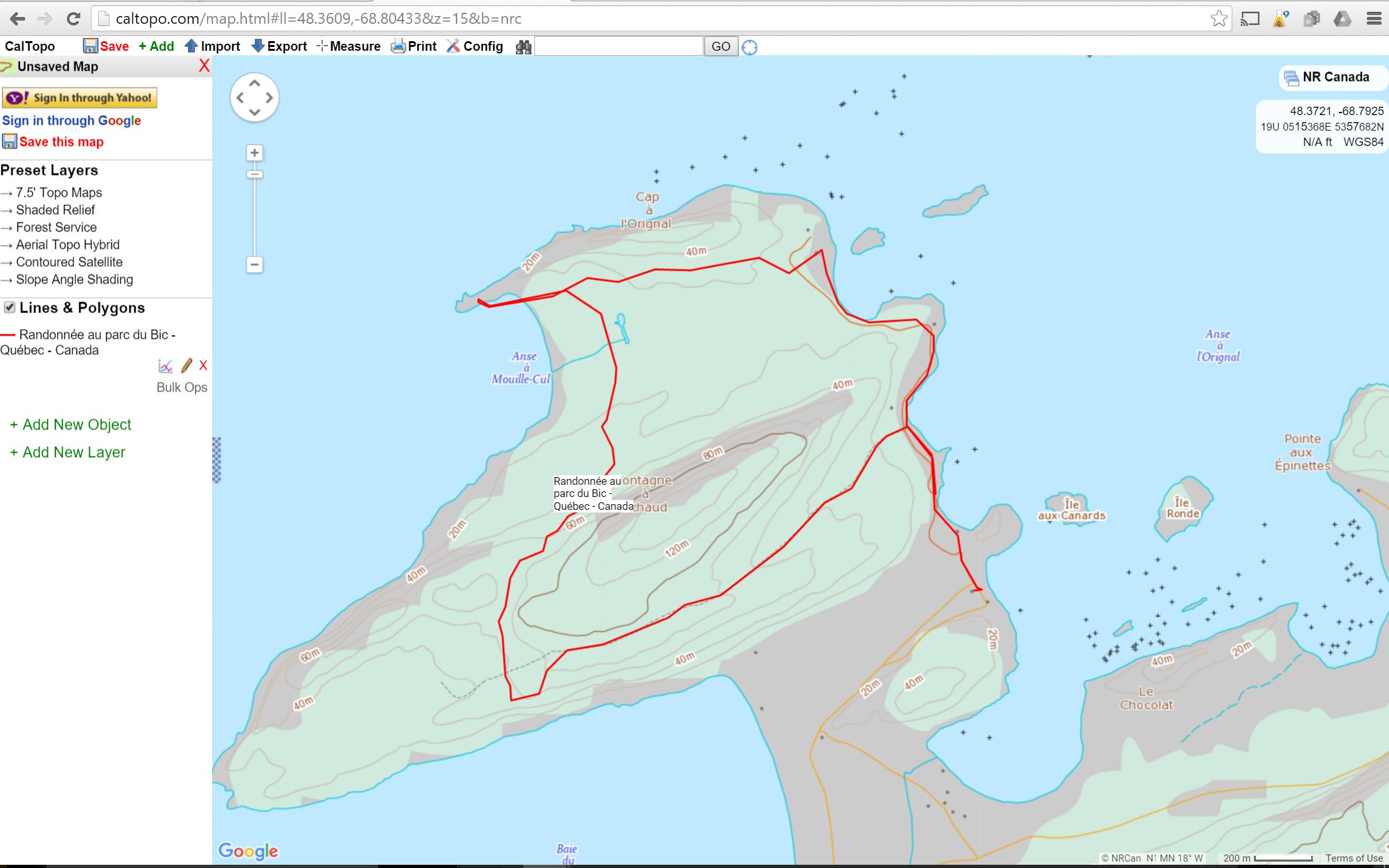 carte du Bic avec un tracé importé sur caltopo