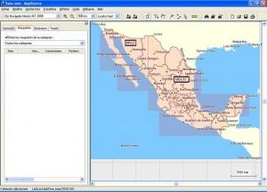 Sélection des régions dans MapSource