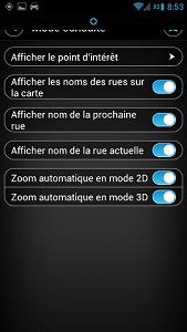 parametres affichage de la map sur Android tomtom