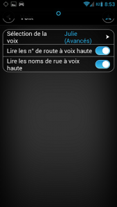parametres des voix Android tomtom
