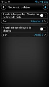 paramètres sécurité routière TomTom Android