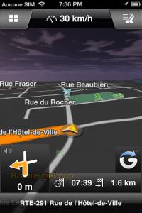 affichage d'une carte avec le logiciel Navigon sur iPhone